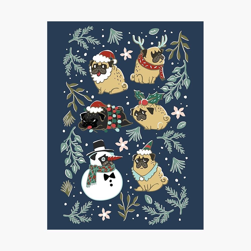 Weihnachtspugs Fotodruck