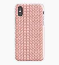 Faux chunky knit in rose pink iPhone Case
