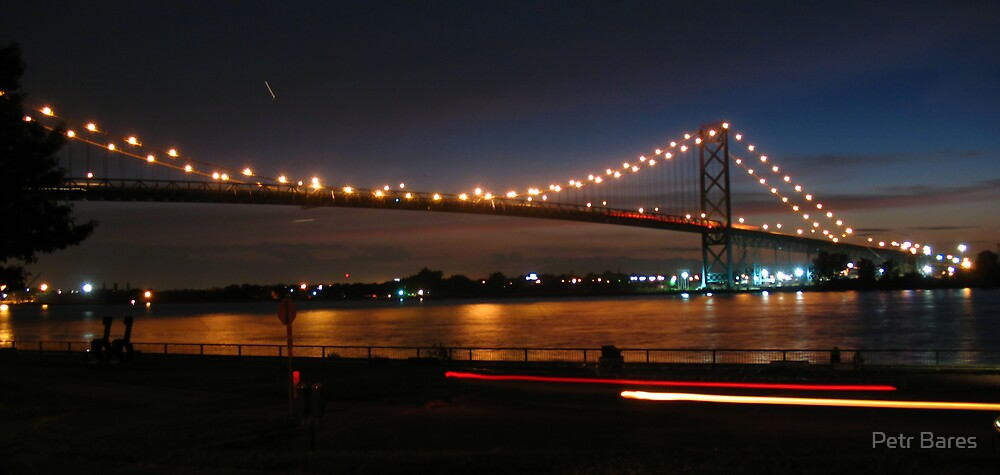 Ambassador bridge with ligt trails by Petr Bares