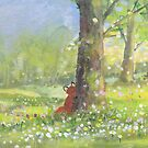 Fletcher fox behind a tree by Tiphanie Beeke