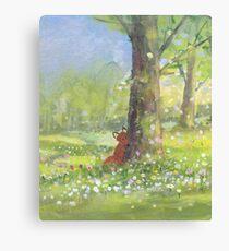 Fletcher fox behind a tree Canvas Print