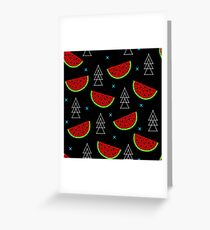 Tropical mosaic watermelon design on black background Greeting Card