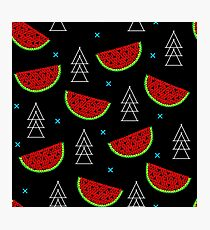 Tropical mosaic watermelon design on black background Photographic Print