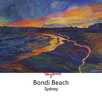 Bondi Beach Sunset for white clothing by tobycentreart