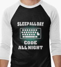 Sleep all day code all night Men's Baseball ¾ T-Shirt