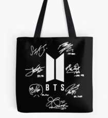 "BTS - Logo + Signaturen ""schwarz"" Tote Bag"