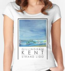 Lido Poster Gilliangham Strand Women's Fitted Scoop T-Shirt