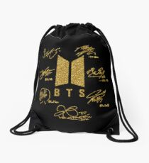 "BTS - Logo + signatures ""Black & Gold"" Drawstring Bag"