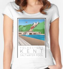 Lido Poster Folkestone Saltwater Women's Fitted Scoop T-Shirt