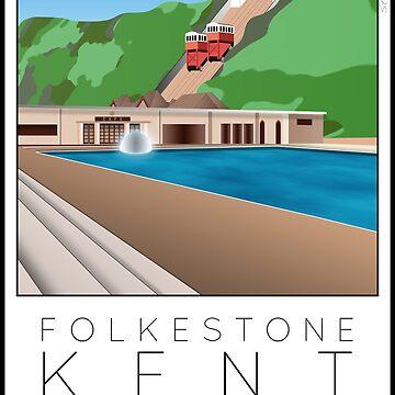 Lido Poster Folkestone Saltwater by stevenhouse