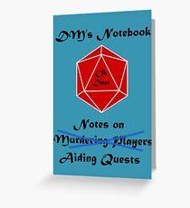Tarjeta de felicitación Cada DM necesita un cuaderno