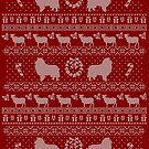 Ugly Christmas sweater dog edition - Rough collie red by Camilla Mikaela Häggblom