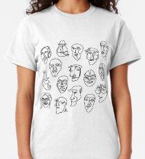 Single Line Face Design Pattern Classic T-Shirt