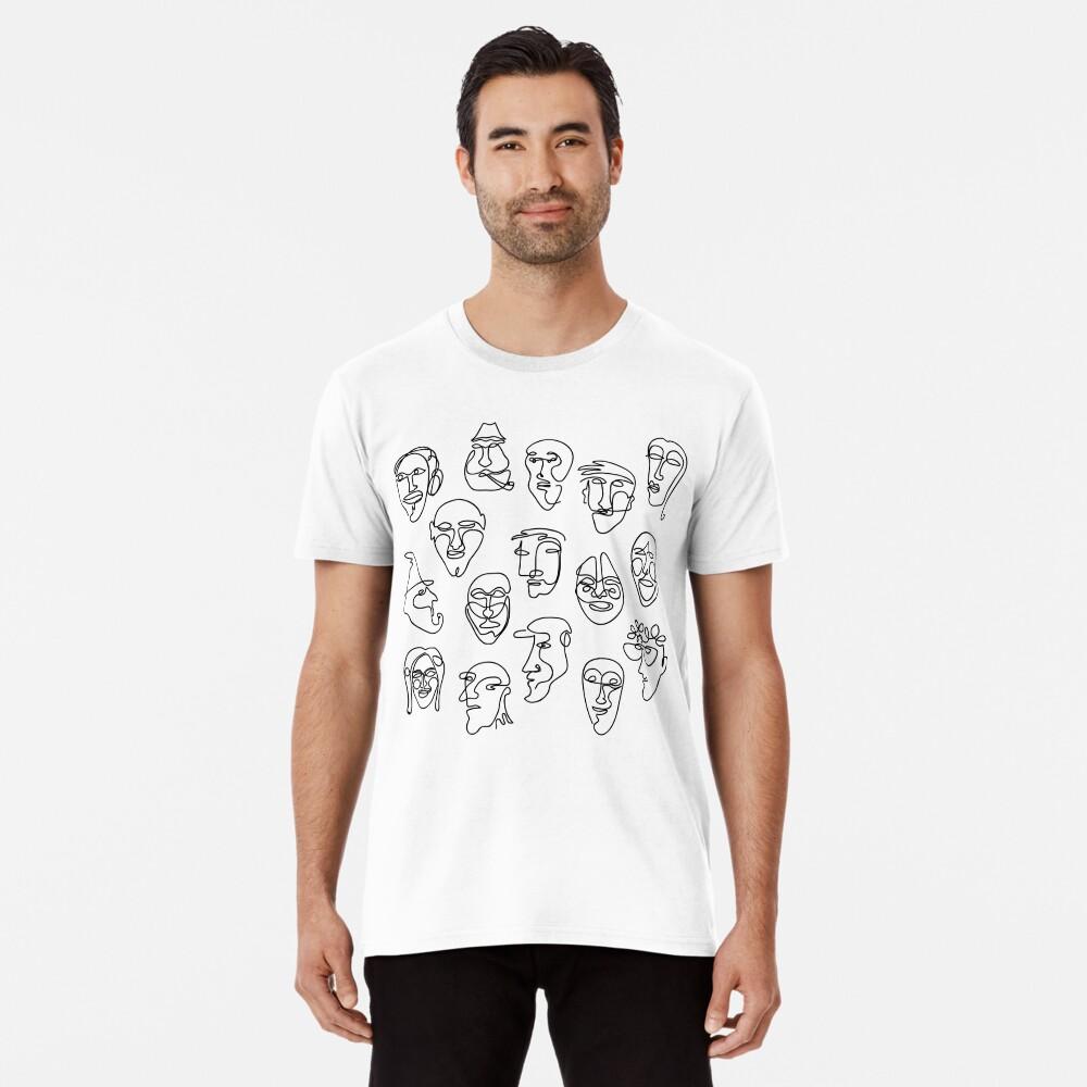 Single Line Face Design Pattern Premium T-Shirt