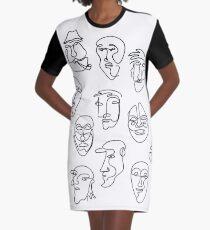 Single Line Face Design Pattern Graphic T-Shirt Dress