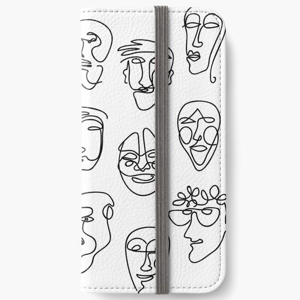 Single Line Face Design Pattern iPhone Wallet