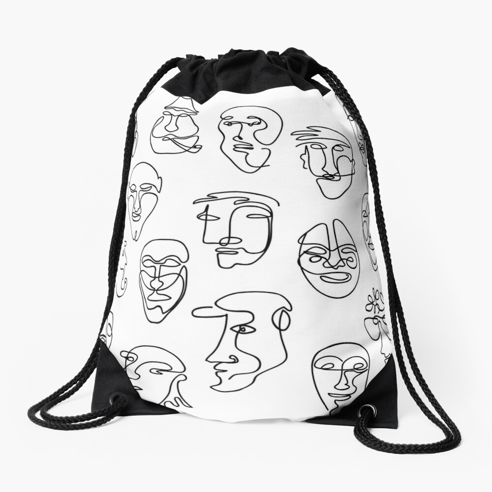 Single Line Face Design Pattern Drawstring Bag