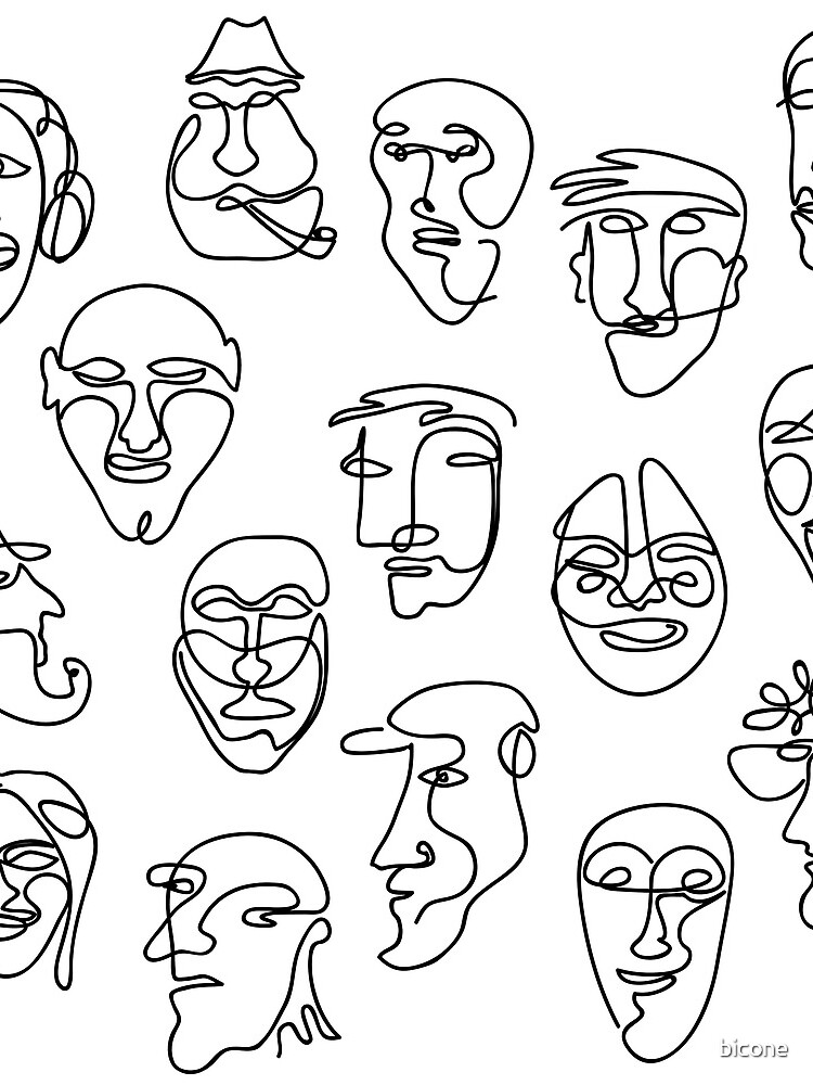 Single Line Face Design Pattern by bicone