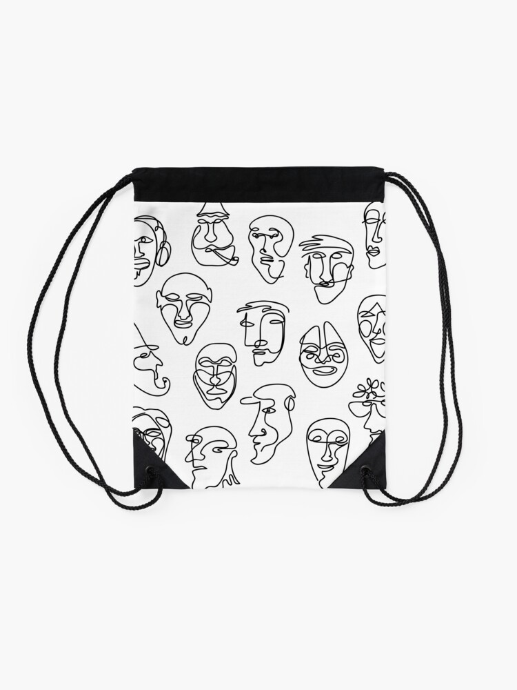 Alternate view of Single Line Face Design Pattern Drawstring Bag
