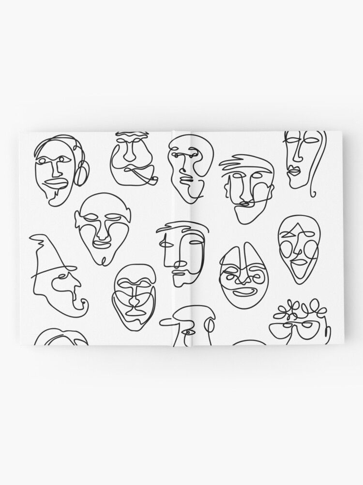 Alternate view of Single Line Face Design Pattern Hardcover Journal