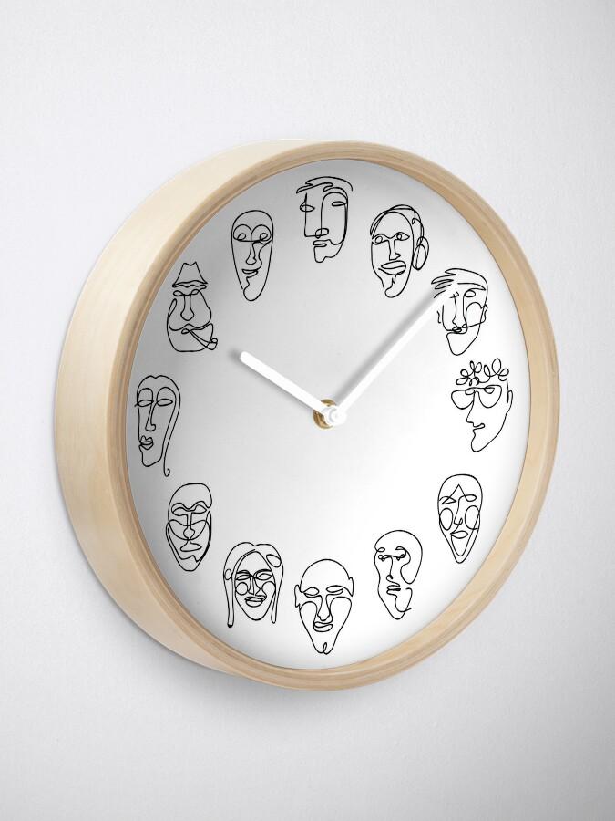 Alternate view of Single Line Face Design Pattern Clock