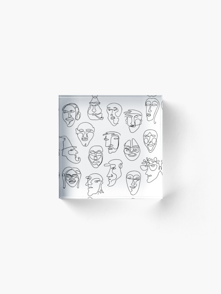 Alternate view of Single Line Face Design Pattern Acrylic Block