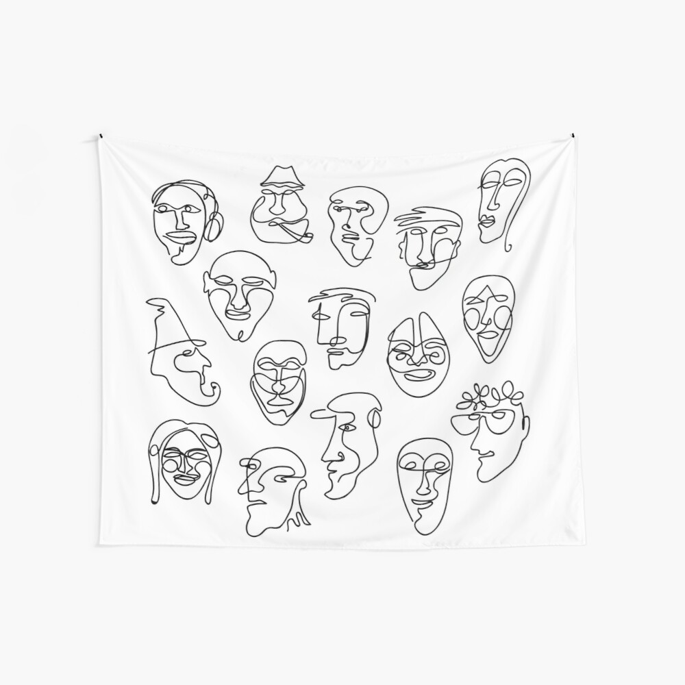 Single Line Face Design Pattern Wall Tapestry