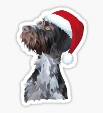 Christmas Wire Haired Pointer Sticker