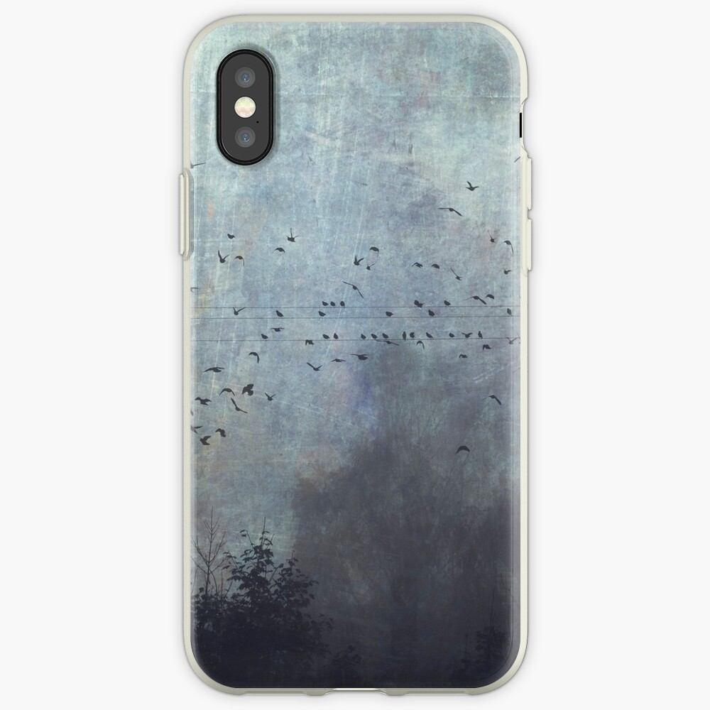 Tree Silhouettes and Birds on a misty day - Fantasmas iPhone Cases & Covers