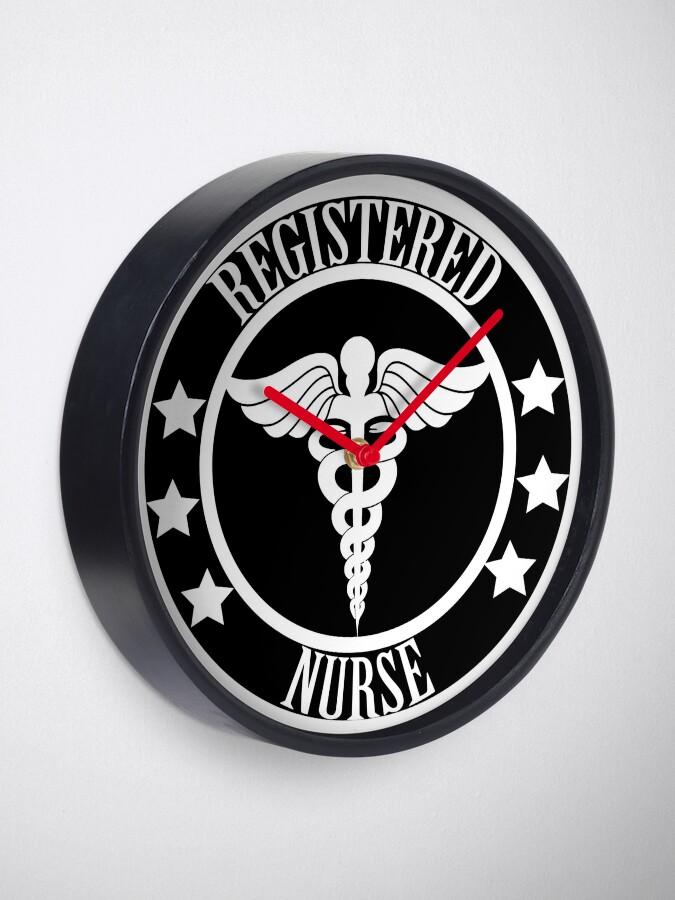 Alternative Ansicht von Registered Nurse - Schwarz und Weiß Uhr
