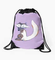 Winter Fox Drawstring Bag