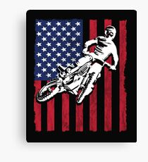 Dirt Biking Motocross Supercross USA Flag Design Canvas Print
