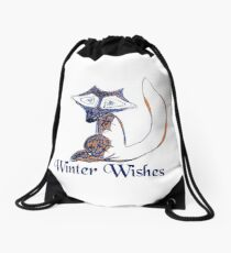 Blue Winter Fox's Winter Wishes Drawstring Bag
