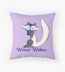 Blue Winter Fox's Winter Wishes Throw Pillow