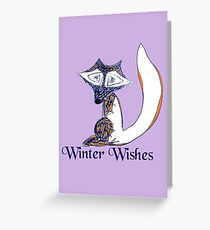 Blue Winter Fox's Winter Wishes Greeting Card