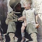 U.S. Army Pfc. Fred Linden holds a young French boy following the liberation of the village of Trévières during the Battle of Normandy. June 10, 1944. by Marina Amaral