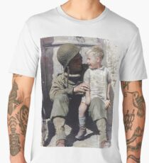 U.S. Army Pfc. Fred Linden holds a young French boy following the liberation of the village of Trévières during the Battle of Normandy. June 10, 1944. Men's Premium T-Shirt