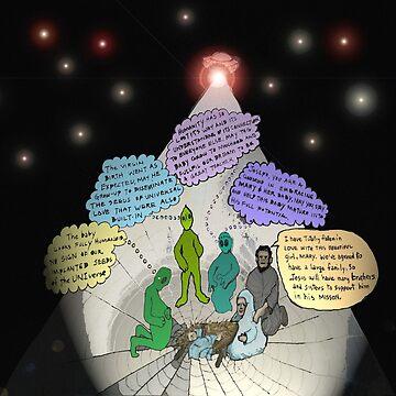 3 E.T. wise men visit Bethlehem in a Starship from the east by JamesLHamilton