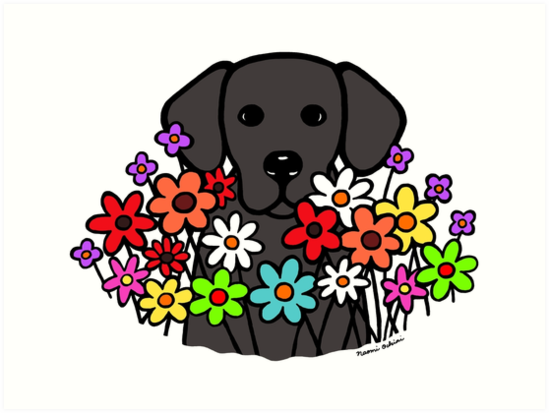 Image result for black dog flowers art