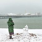 Brighton beach snowman by Zuzana D Photography