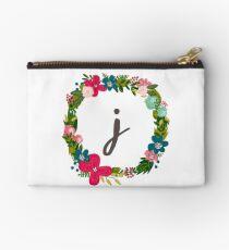 Letter J Floral Wreath Monogram  Studio Pouch