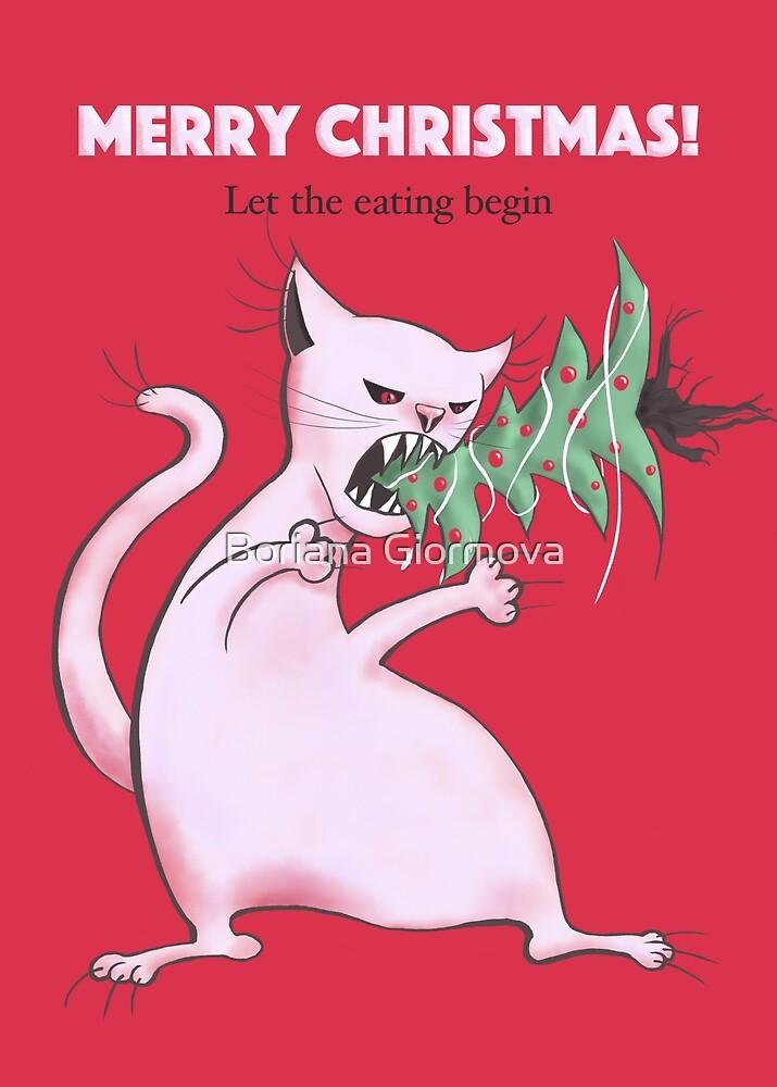 White Fat Cat Eats Christmas Tree by Boriana Giormova