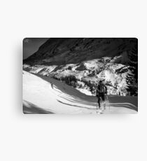Snowfall in the italian alps Canvas Print