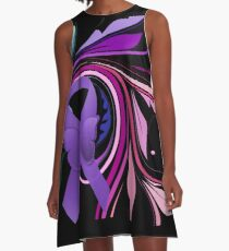 Purple Awareness Ribbon with Decoravtive Floral  A-Line Dress