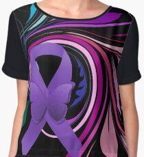 Purple Awareness Ribbon with Decoravtive Floral  Chiffon Top
