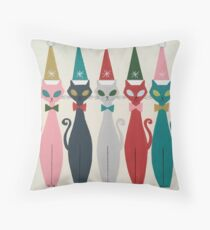 Multicolor Kitty Santa Throw Pillow