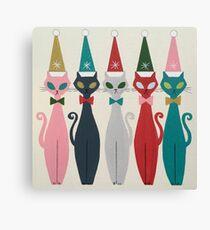 Multicolor Kitty Santa Canvas Print