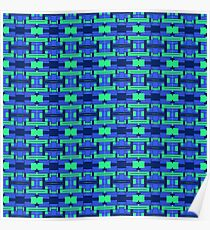 Geometric Elements Green and Blue Poster