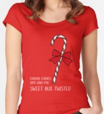 Sweet but Twisted Like a Candy Cane Women's Fitted Scoop T-Shirt