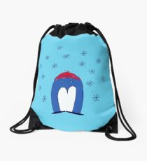 Blue Penguin in the Snow Drawstring Bag